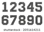 set of grunge scratched numbers. | Shutterstock .eps vector #2051614211