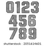 vector old grunge numbers set. | Shutterstock .eps vector #2051614601