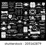mega set of ornate frames and... | Shutterstock .eps vector #205162879