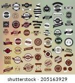 mega set of retro vintage... | Shutterstock .eps vector #205163929