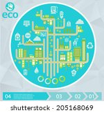 flat style design eco city... | Shutterstock .eps vector #205168069