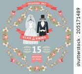 retro wedding invitation with... | Shutterstock .eps vector #205171489