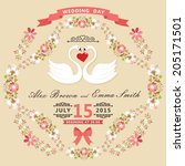 retro wedding invitation with... | Shutterstock .eps vector #205171501