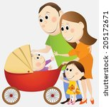 cartoon happy family | Shutterstock . vector #205172671