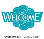 welcome vector hand lettering | Shutterstock .eps vector #205174204