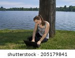 beautiful brunette woman on the ... | Shutterstock . vector #205179841