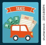 tax design over blue background ... | Shutterstock .eps vector #205180894