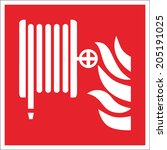 fire safety sign fire hose reel | Shutterstock .eps vector #205191025