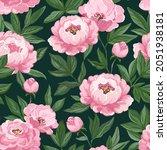 gouache peony seamless pattern. ...   Shutterstock . vector #2051938181