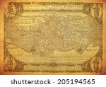 vintage map of the world 1602  | Shutterstock . vector #205194565