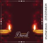 happy diwali background with...   Shutterstock .eps vector #2052056834