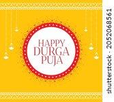 happy durga pooja yellow...   Shutterstock .eps vector #2052068561