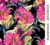 pink flower seamless pattern | Shutterstock . vector #205208314