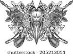 crow  crow skull  gothic crow