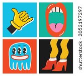 big set of different colored... | Shutterstock .eps vector #2052197297