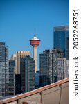 Calgary, Alberta - October 3, 2021: Exterior facade and detail of the Scotiabank Saddledome. Home of the NHL