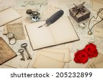 diary book  old love letters... | Shutterstock . vector #205232899