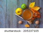 fresh honey with pollen on an... | Shutterstock . vector #205237105