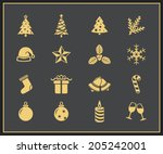 christmas and new year icon set.... | Shutterstock .eps vector #205242001