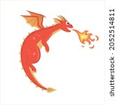 the red flying dragon blowing... | Shutterstock .eps vector #2052514811