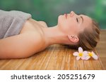 peaceful blonde lying on bamboo ... | Shutterstock . vector #205251679