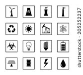 black industrial factory icons... | Shutterstock .eps vector #205252237