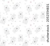 seamless pattern with cute bear. | Shutterstock .eps vector #2052554831