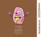 vector funny cartoon cute pink...   Shutterstock .eps vector #2052596444