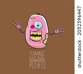 vector funny cartoon cute pink...   Shutterstock .eps vector #2052596447