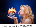 frozen girl holding burning...