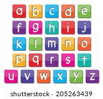 colorful paper small alphabet... | Shutterstock .eps vector #205263439