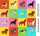 set of dog with background. for ... | Shutterstock .eps vector #205269229