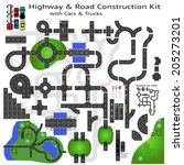 highway road construction kit... | Shutterstock .eps vector #205273201