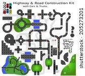 highway road construction kit... | Shutterstock .eps vector #205273201
