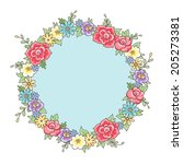 romantic style floral round... | Shutterstock .eps vector #205273381