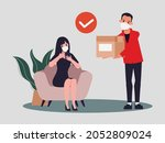 young woman shopping online and ...   Shutterstock .eps vector #2052809024