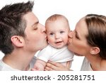 Young Mother Father Kissing...