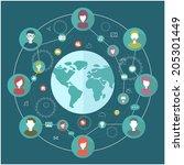 social network flat concept... | Shutterstock .eps vector #205301449