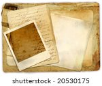 old papers with instant frame - stock photo