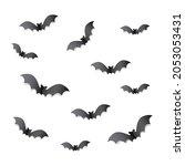 vampire bat silhouette paper... | Shutterstock .eps vector #2053053431