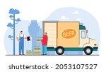 smiling courier man holding... | Shutterstock .eps vector #2053107527