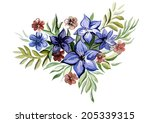bouquet of flowers blue color | Shutterstock . vector #205339315
