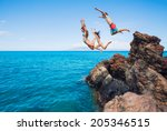 summer fun  friends cliff... | Shutterstock . vector #205346515