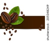 background of coffee beans with ... | Shutterstock .eps vector #205348249