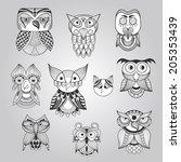 vector set of 10 doodle owls ...