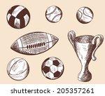 set of different sketch balls. | Shutterstock . vector #205357261