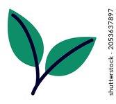 two green leaves over white | Shutterstock .eps vector #2053637897