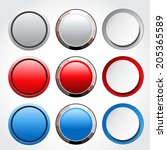 circular blank glossy buttons | Shutterstock . vector #205365589