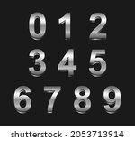 set of metallic silver numbers. | Shutterstock .eps vector #2053713914