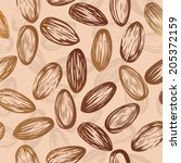 Almond Nut Seamless Vector...